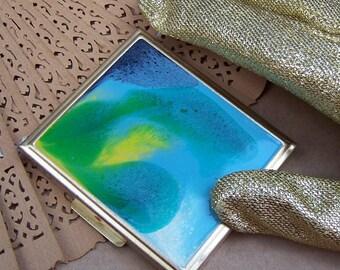 Vintage powder compact purse compact enamel compact poured paint effect Mad Men era 1960s (AAF) R
