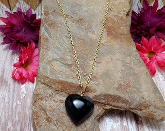 Black Agate Heart Necklace - Gemstone Heart Necklace - Heart Pendant Necklace - Black Heart