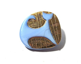 Czech CAT Button Gold Art Deco Style Cat VINTAGE Czech Glass Button One (1) Blue Czech Glass Mod Cat Vintage Button Jewelry Supply (L48)