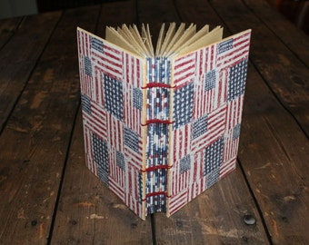 patriotic journal, American flags, deployment diary, military wedding gift, service members, Americana, handmade notebook, blank sketchbook