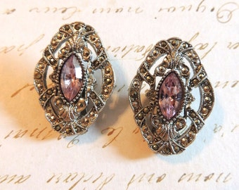 1928 Marcasite Earrings Pink Glass Clip On Designer Vintage Jewelry Victorian Style