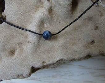 Blue Lapis Bead Necklace, Simple Bead Necklace, Leather Choker, Lapis Bead, Single Bead Necklace, minimalist Necklace, Modern Necklace
