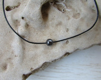Gray Bead Hematite Necklace, Leather Necklace, Small Metallic Bead Necklace, Simple Bead Necklace, Minimalist Necklace, Mens Bead Necklace