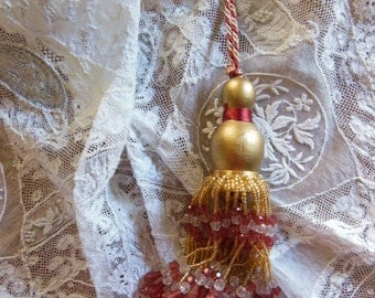 Two Vintage Wooden Finials in Golds and Reds