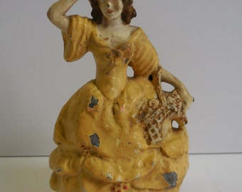 Antique figural lamp base Victorian Girl Yellow dress w/ Basket Shabby Chippy French Country
