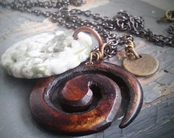 Norse Ram  - layered metalwork tag, carved walnut horn & frogskin jasper stone charm, chain necklace