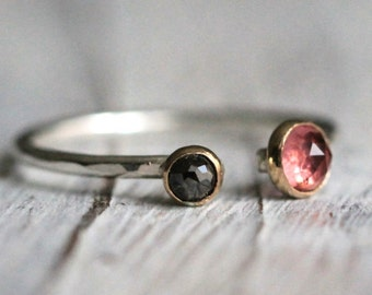 Dual Gemstone Two Birthstone Adjustable Silver Stacking Ring-October Birthstone Ring-Pink Tourmaline-Choose a second gemstone! R011