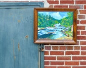 Mountain creek riverbed landscape 20 x 16 acrylic outdoors cabin lodge framed recycled canvas Eco Chic rustic woods sky clouds