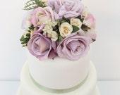 Wedding Cake Topper - Lavender, Light Purple, Ivory Rose Silk Flower Cake Topper, Spring Wedding Cake Topper, Wedding Cake Flowers