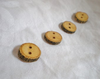 Natural Wood Buttons with Bark handmade, set of 4