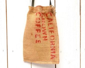 Coffee Bag Purse Burlap Shoulder Bag Cross Body Eco Friendly Leather Strap Coffee Burlap Bag