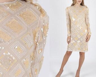 Vintage Sequin Dress Beaded Dress Boho Party Dress Disco Dress Party Dress Hippie Dress Boho Dress Gatsby Dress Mini Dress 80s Dress
