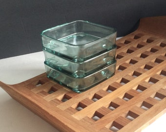 Danish Waffle Tray Teak with Glass Dishes / Modern Serving