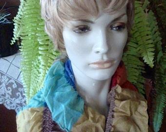 womens Long scarf Ruffled very soft Rayon multi colour Tartan