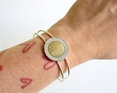 Italian coin cuff bracelet . Italy coin bracelet . coin jewelry . adjustable cuff . womens jewelry . world coin bracelet