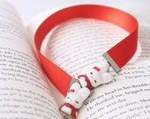 Kawaii Cute Ribbon Bookmark - Bright Red Ribbon, Porcelain Bunny Beads