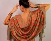 Green Silk Shawl Wrap, Pashmina Scarf, Wool Pashmina Shawl, Wool Floral Shawl, Silk Embroidered Shawl, Wedding Bridal Shrug Shawl Bolero