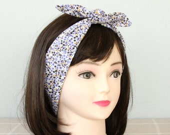 Purple headband cotton headband floral head wrap hair accessories adult headband woman pin up headband tie up headband bandana hair wrap