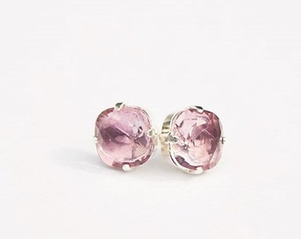 Handmade Pink Swarovski Earrings Antique Pink Swarovski Pink Earrings Pink Crystal Earrings Pink Cushion Stone Antique Pink Earrings