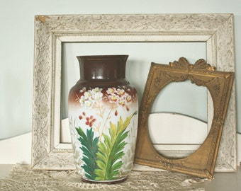 Antique Hand Painted Flowers Milk Glass Vase    Sale was 68.00