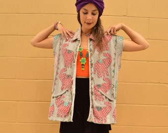 Vintage Elephant Patchwork Oversized VEST Wearable Art