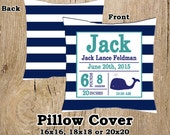 Whale Nursery Bedding Preppy Whale Birth Announcement Pillow Cover Navy Blue and Teal Striped Pillow Case