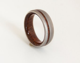 Titanium & Hawaiian koa // mens wedding band // wood ring //