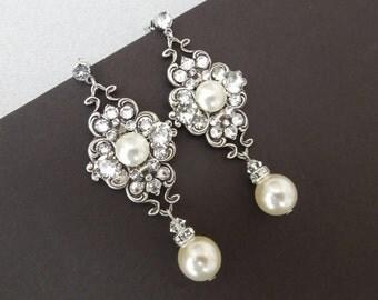 Pearl Earrings,Bridal Earrings,Ivory or White Pearls,Pearl Rhinestone Earrings,Bridal Pearl Earrings,Bridal Rhinestone Earrings,Pearl,CLAUDE