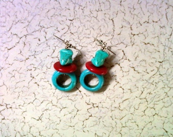 Turquoise and Red Earrings (2194)