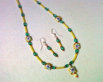 Yellow, Green, Red and Blue Millefiori Choker and Earrings (0961)