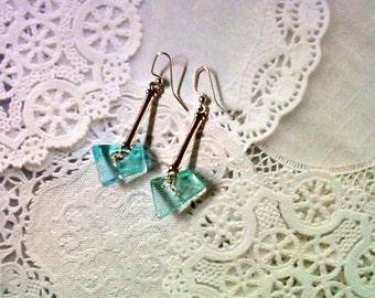 Light Aqua Blue Glass Drop Earrings (2211)