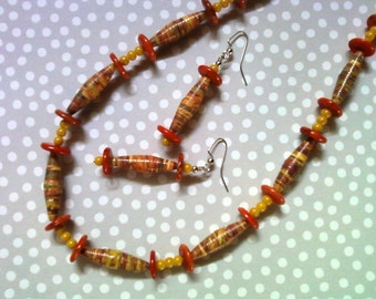 Brown, Dark Orange and Golden Yellow Necklace and Earrings (2221)