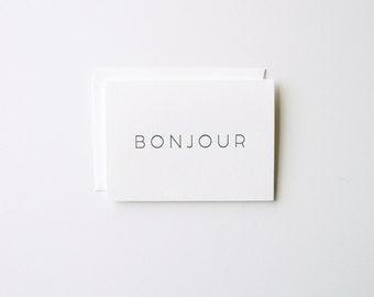 Bonjour - Letterpress Greeting Card