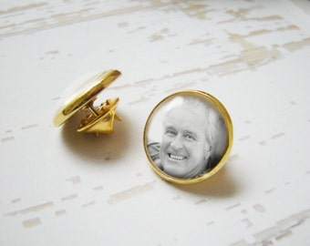 Gold Lapel Pin with Your Photo - Custom Personalized Gold Plated Groom Tie Tack - Groom Groomsman's Gift Keepsake Captured in Glass