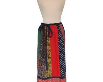 Vintage Patchwork Cotton Maxi Skirt by Mr. Hank 1970's Medium/Large