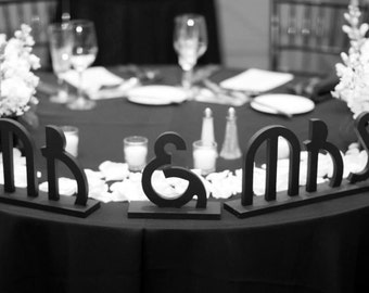Mr Mrs Wedding Signs Gatsby Art Deco Style Sweetheart Table Centerpiece Decor Custom Great Gatsby Wedding Decorations (Item - MBG100)