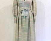 reserved Maria vintage pastel bow dress - 1950s-60s designer Mollie Parnis Boutique long bow-front maxi dress