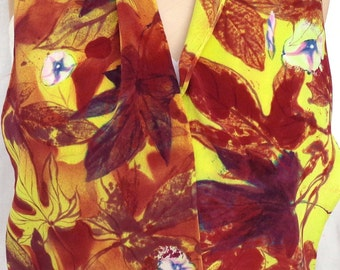 silk crepe scarf Sweet Potato Flowers unique long luxury hand painted wearable art women chartreuse maroon floral