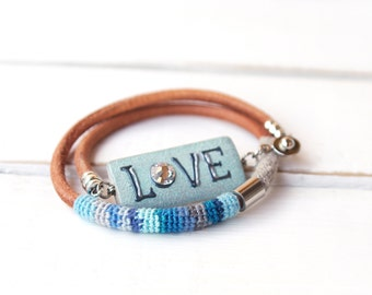 Lake Blue Double Wrap Bracelet, Love Bracelet Leather Cord, Fiber Art Striped Bohemian Bracelet