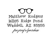 "Return Address Stamp  -  Fun Font with eyeglasses.  Mounted with a wooden handle or Self-inking return address stamp  (20373) 2.5"" x 1 1/4"""