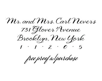 Calligraphy Return Address Stamp.  Pick a Mounted with Wooden Handle or Self Inking Return Address Stamp (20375) 3 x 1 (4 Lines)