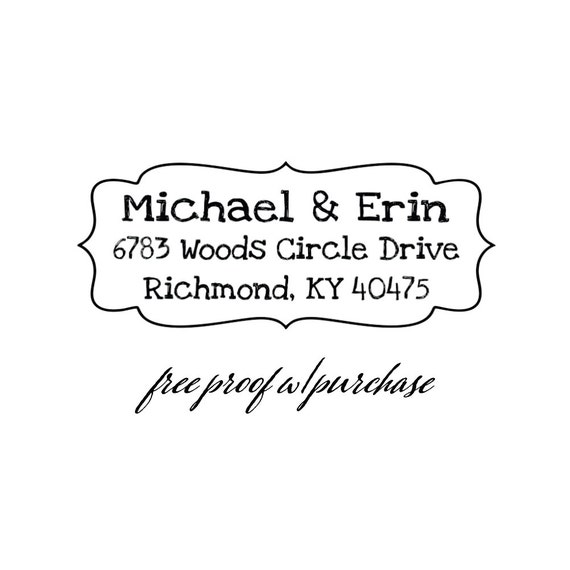 "Custom Personalized Return Address Stamp with a fun & whimsical font.  Mounted with Handle or Self-inking Address Stamp 2 1/2"" x 1"" 20335"