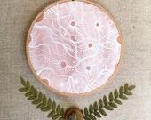Moon Art, Home Decor, Original Hoop Art-Voyage of a Pink Moon