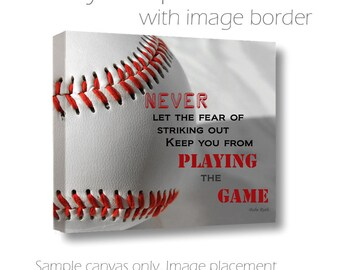 Baseball Photography-Babe Ruth Quote-Fine Art Wrapped Canvas-Typography-Baseball Canvas-Boys Room Wall Art-Sports Wall Decor-Red White Black