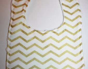Gold and White Chevron Baby Bib- Personalization Optional, Baby Girl Bib, Baby Boy Bib, Minky Baby Bib