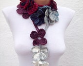 Women crochet Scarf,Lariat Scarf,Flower Necklace,mothers day
