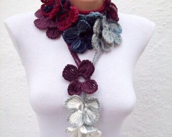 Women crochet Scarf, Lariat Scarves, Flower Necklace, Crocheted Jewelry, Spring Scarf, Women Accessories, Grey Darkblue Burgundy White