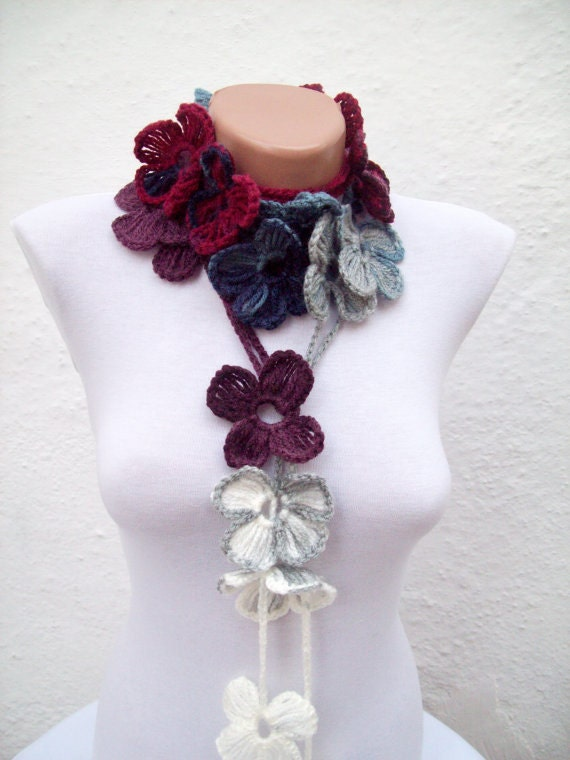 Women crochet Scarf,Lariat Scarf,Flower Necklace,Spring Scarf