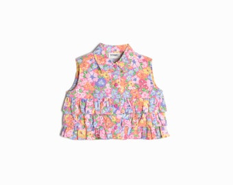 Vintage Kid's Clothing / 90s Girl's Floral Ruffle Top in Pink Multi - Girl's Size 5