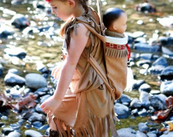 Native American inspired Girl Indian pretend dress up fun  Costume toddler  size 12 month  through 18month